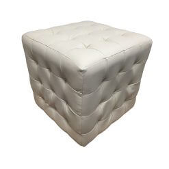 Leather Footstool Cream