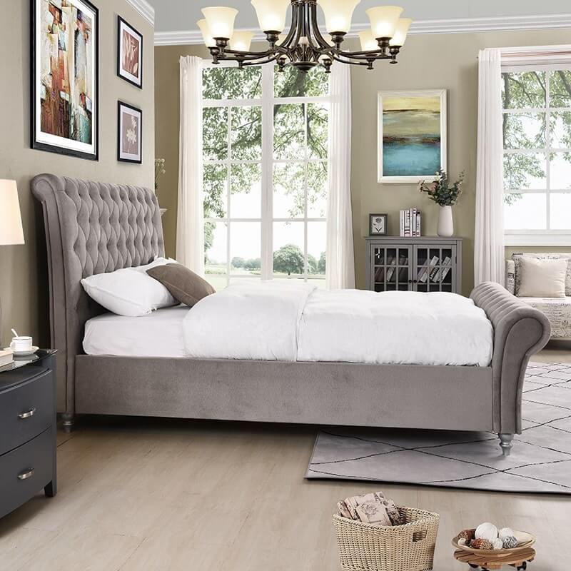 Kilkenny Fabric Bed Frame - Silver