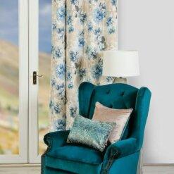 Ava Floral Azure Curtains