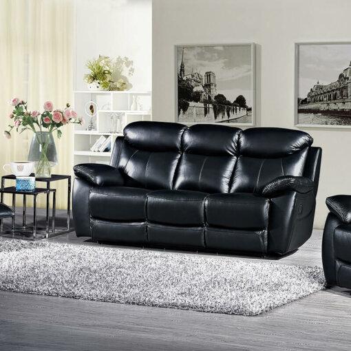 Bradshaw Black Leather 3 Seater Sofa