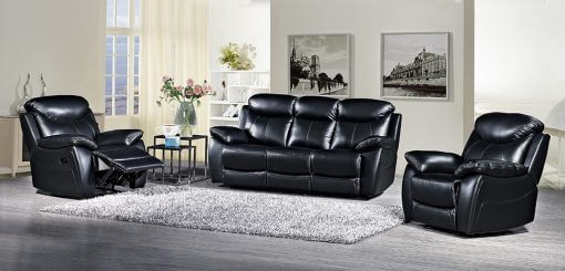 Bradshaw Black Leather Sofa Collection