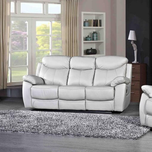 Bradshaw Light Grey Leather 3 Seater Sofa
