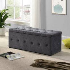 Grey Button Blanket Box