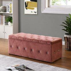 Pink Diamante Blanket Box