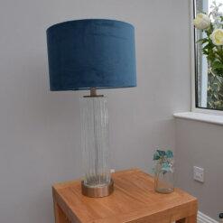 Glass Table Lamp with Soft Navy Velvet Shade
