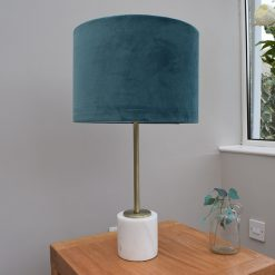 Marble Table Lamp with Teal Velvet Shade