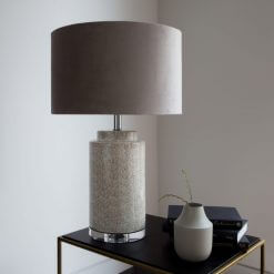 Ceramic Table Lamp with Taupe Velvet Shade