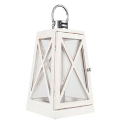 White Wash and Chrome Lantern Table Lamp