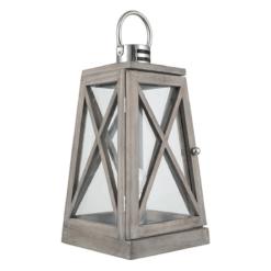 Grey Wash and Chrome Lantern Table Lamp