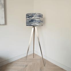 Tripod Floor Lamp with Navy Pattern Velvet Shade
