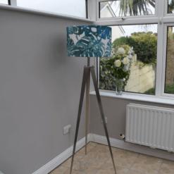 Tripod Floor Lamp with Leaf Pattern Velvet Shade