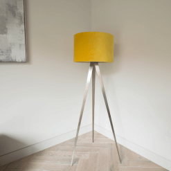 Tripod Floor Lamp with Mustard Velvet Shade