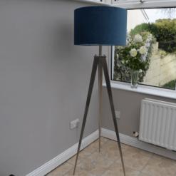 Tripod Floor Lamp with Navy Velvet Shade