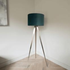 Tripod Floor Lamp with Teal Velvet Shade