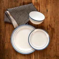 12pc Avie Saturn Blue Dinner Set