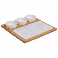 5pc White Marble Ceramic Cheese Board