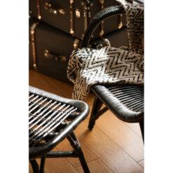 Havana Rattan Chair & Stool Black