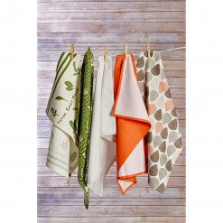Set of 3 Orange Leaf Tea Towels