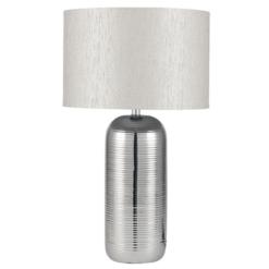 Silver Stripy Ceramic Table Lamp
