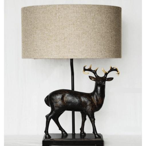 Stag Lamp with Herringbone Shade