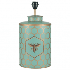 Blue Honeycomb Hand Painted Lamp with Cylinder Shade