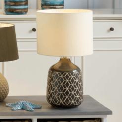 Dark Grey Geo Ceramic Table Lamp