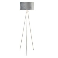 Brushed Silver Tripod Floor Lamp Black Shade