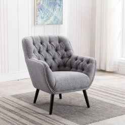Cyrus Grey Fabric Armchair
