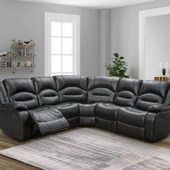 Novella Black Fabric Corner Sofa