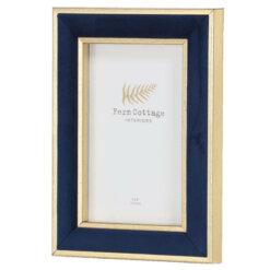 Midnight Blue Velvet & Gold Frame