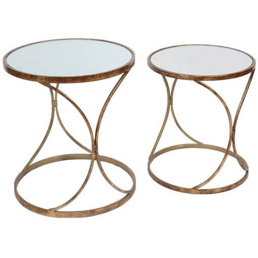 Set of 2 Gold Metal Side Tables