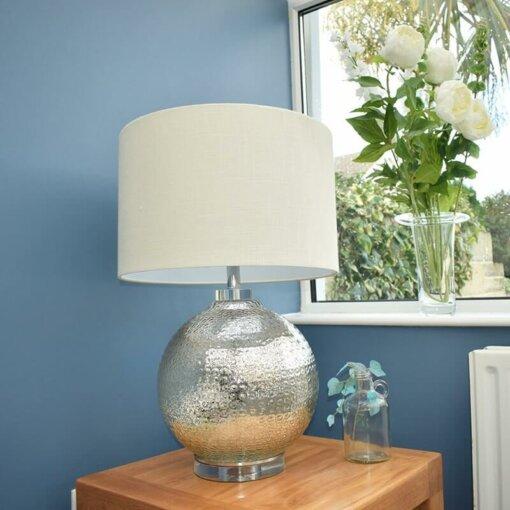 Mercury Oatmeal Linen Lamp