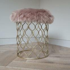 Pink Sheepskin Stool