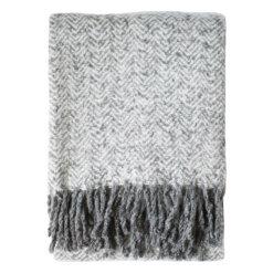 Herringbone Faux Mohair Throw Grey