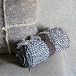 Cotton Cubic Throw Grey