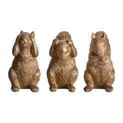 Three Wise Squirrels Gold Set of 3