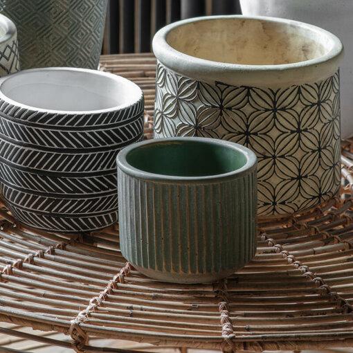 Linear Pot Gold/Green Small