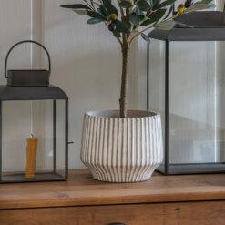 Stripe Pot Whitewash Small