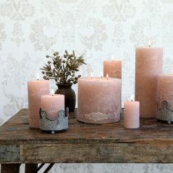 Macon Rustic Pillar Candle Rose