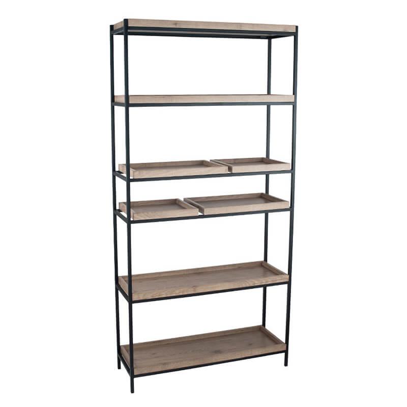 Natural Wood Veneer & Black Metal 5 Shelf
