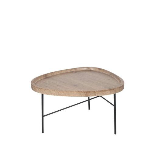 Dark Wood & Black Metal Tear Coffee Table