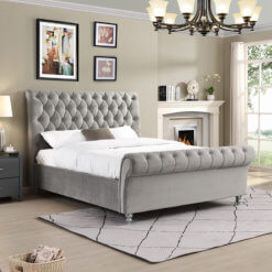 Kilkenny Silver Fabric Bed Frame